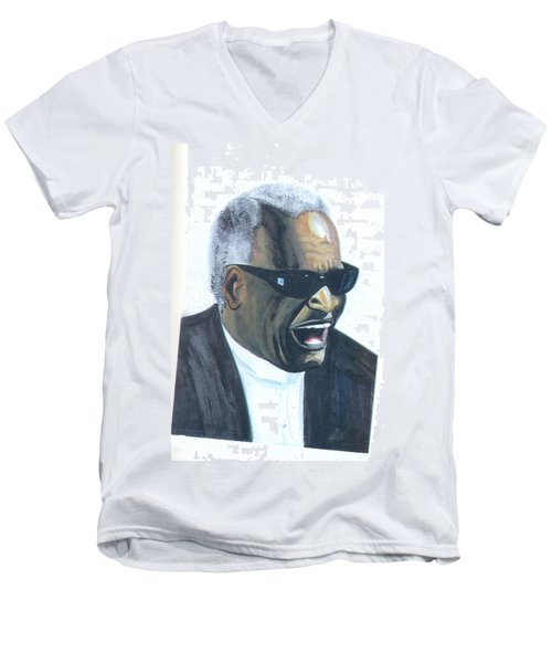 Men's V-Neck T-Shirt featuring the painting Ray Charles by Emmanuel Baliyanga