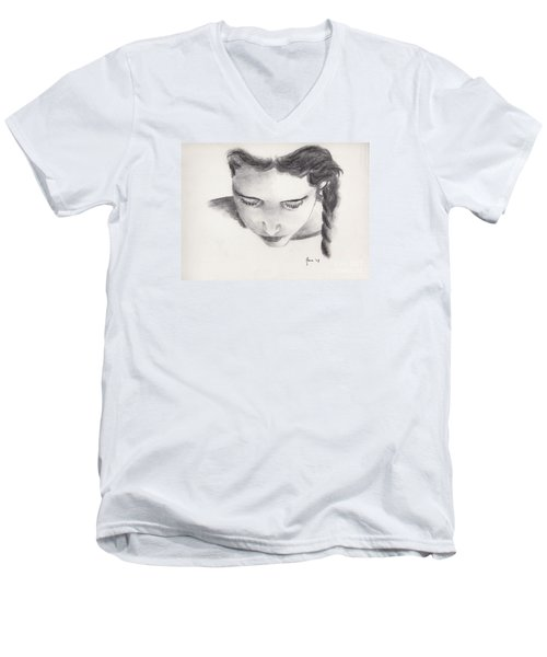 Men's V-Neck T-Shirt featuring the drawing Reading by Annemeet Hasidi- van der Leij