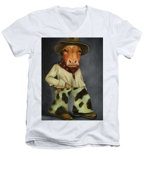 Men's V-Neck T-Shirt featuring the painting Real Cowboy 2 by Leah Saulnier The Painting Maniac