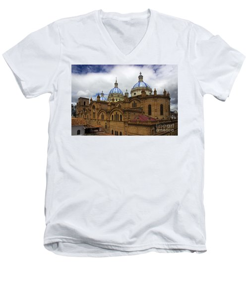 Rear Corner View Of Immaculate Conception Cathedral Men's V-Neck T-Shirt by Al Bourassa