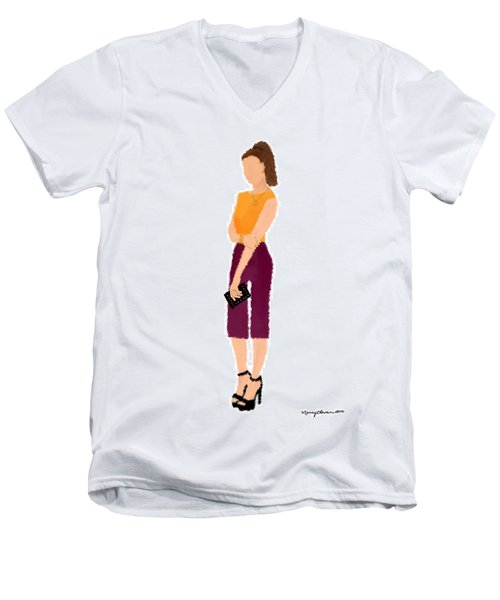 Men's V-Neck T-Shirt featuring the  Rebecca by Nancy Levan