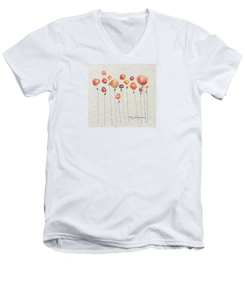 Red Abstract Floral Men's V-Neck T-Shirt