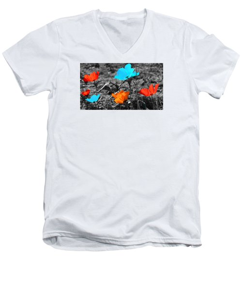 Red And Blue Flowers On Gray Background Men's V-Neck T-Shirt