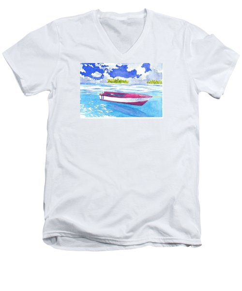 Red And White Men's V-Neck T-Shirt by Anne Marie Brown