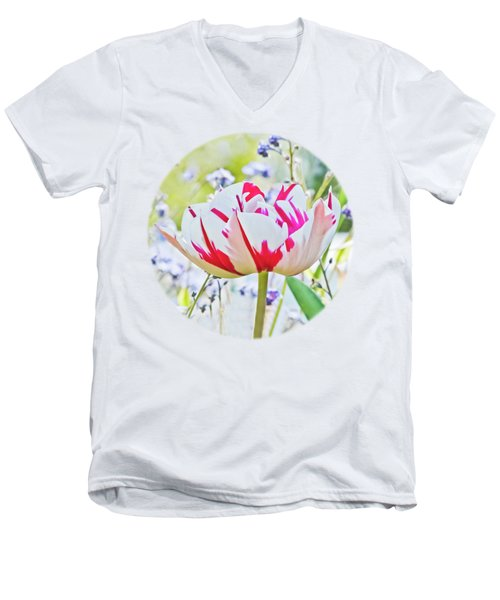 Red And White Tulip Men's V-Neck T-Shirt by Terri Waters