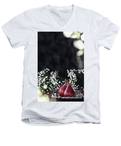 Men's V-Neck T-Shirt featuring the photograph Red Anjou Pears by Stephanie Frey