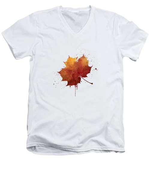 Red Autumn Leaf Men's V-Neck T-Shirt by Thubakabra