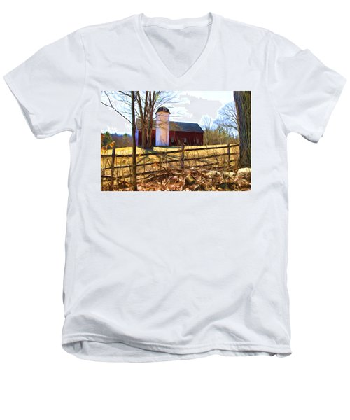 Red Barn And Silo  Men's V-Neck T-Shirt