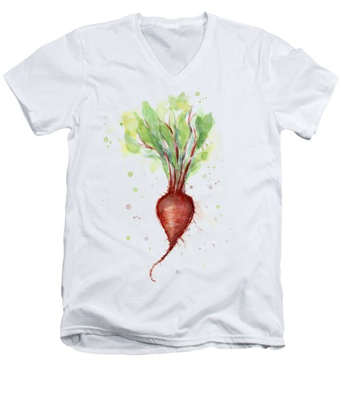 Red Beet Watercolor Men's V-Neck T-Shirt by Olga Shvartsur