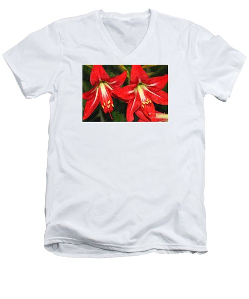 Amaryllis Lily Men's V-Neck T-Shirt