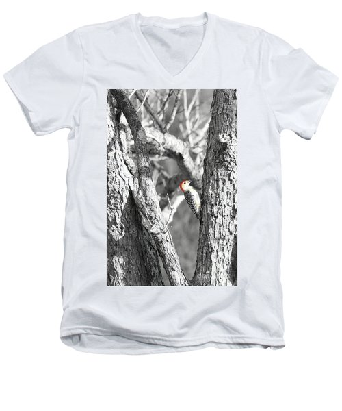 Men's V-Neck T-Shirt featuring the photograph Red-bellied Woodpecker by Benanne Stiens