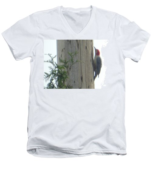 Men's V-Neck T-Shirt featuring the photograph Red Bellied Woodpecker by Rockin Docks Deluxephotos