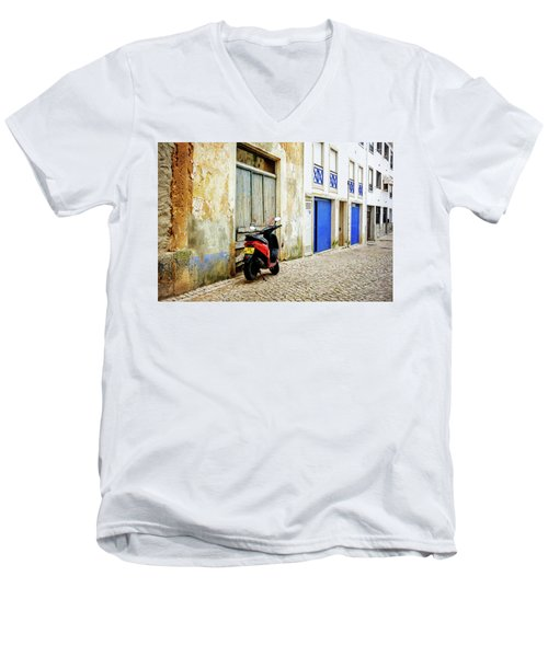 Men's V-Neck T-Shirt featuring the photograph Red Bike by Marion McCristall