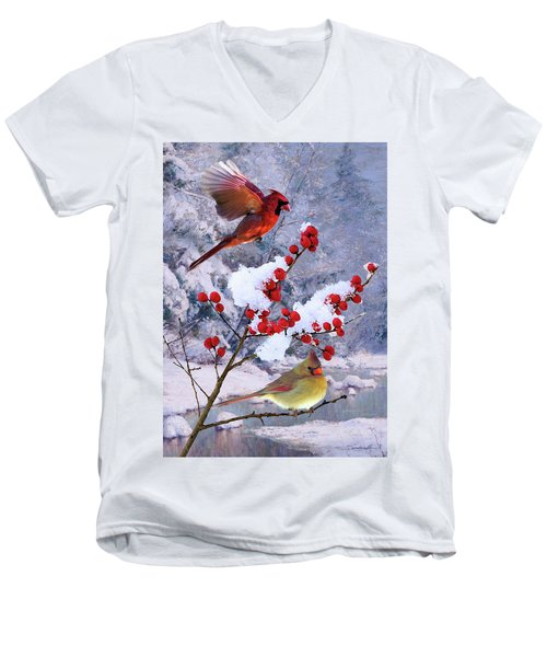 Red Birds Of Christmas Men's V-Neck T-Shirt