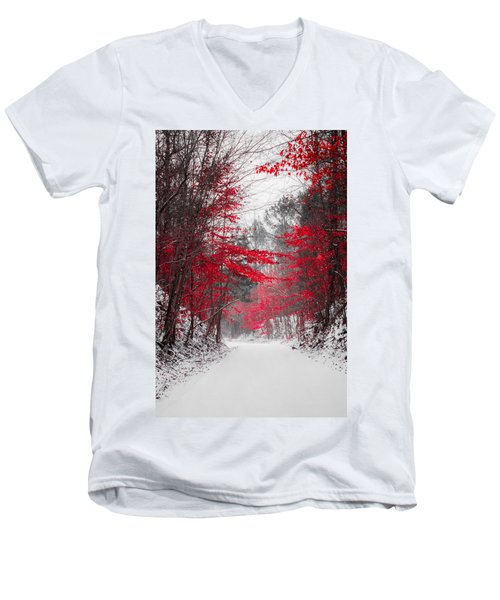 Red Blossoms  Men's V-Neck T-Shirt