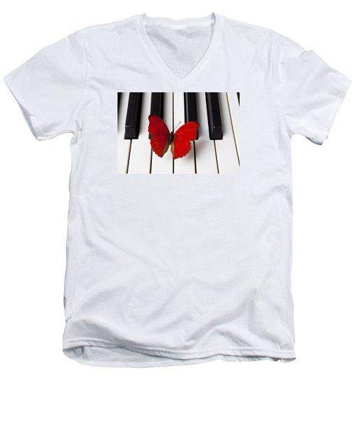 Red Butterfly On Piano Keys Men's V-Neck T-Shirt by Garry Gay