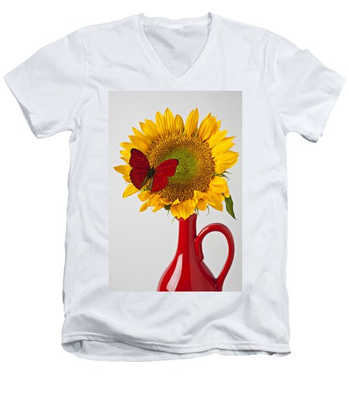 Red Butterfly On Sunflower On Red Pitcher Men's V-Neck T-Shirt