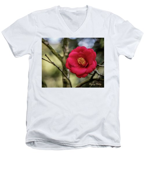 Men's V-Neck T-Shirt featuring the photograph Red Camelia 05 by Gregory Daley  PPSA