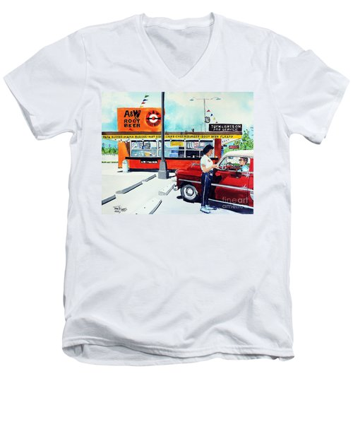 Men's V-Neck T-Shirt featuring the painting Red Car At The A And W by Tom Riggs