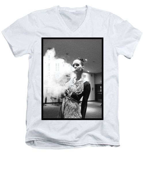 Men's V-Neck T-Shirt featuring the photograph Red Carpet Vapeing  by Lisa Piper