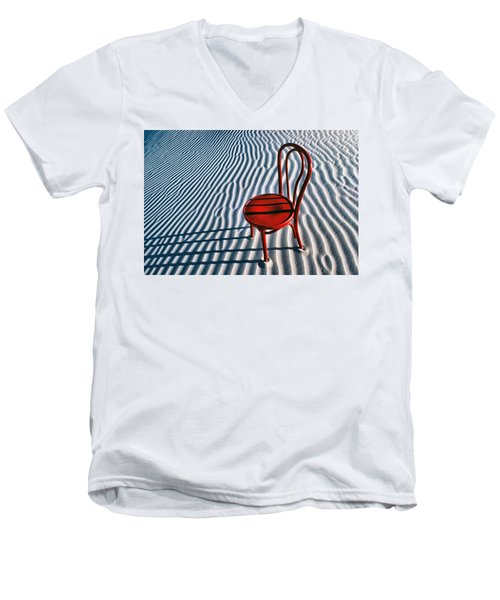 Red Chair In Sand Men's V-Neck T-Shirt