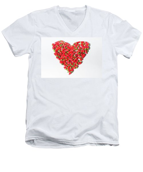 Red Chillie Heart II Men's V-Neck T-Shirt