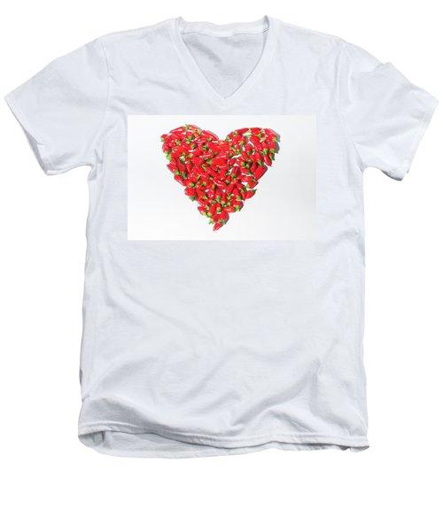 Red Chillie Heart II Men's V-Neck T-Shirt