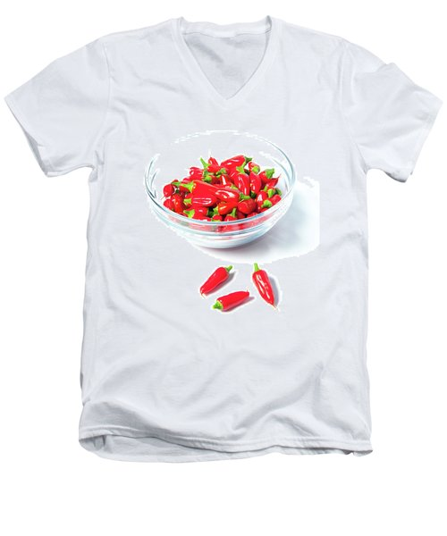 Red Chillies In A Bowl II Men's V-Neck T-Shirt