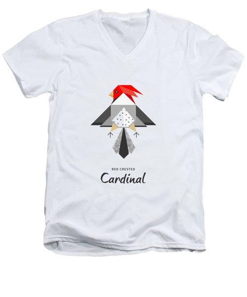 Red-crested Cardinal Minimalist Men's V-Neck T-Shirt