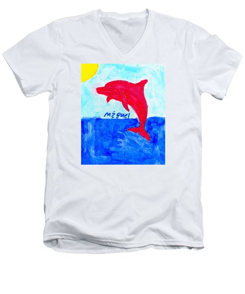 Red Dolphin Men's V-Neck T-Shirt by Artists With Autism Inc