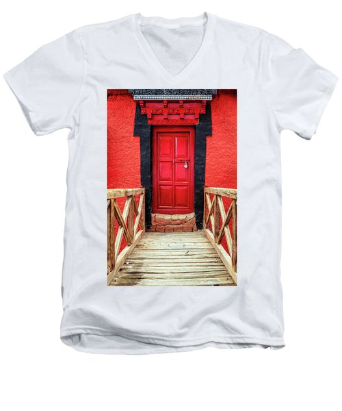 Men's V-Neck T-Shirt featuring the photograph Red Door At A Monastery by Alexey Stiop