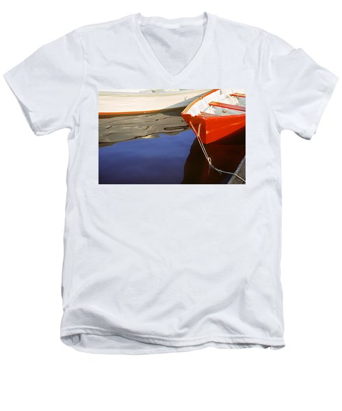 Men's V-Neck T-Shirt featuring the photograph Red Dory Photo by Peter J Sucy