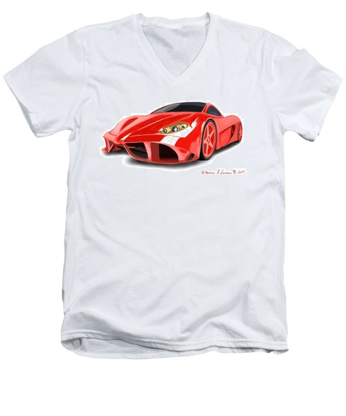 Red Ferrari Men's V-Neck T-Shirt
