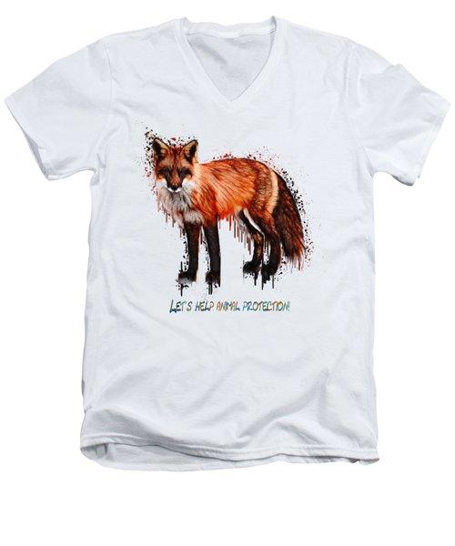 Red Fox In Tears Digital Painting Men's V-Neck T-Shirt