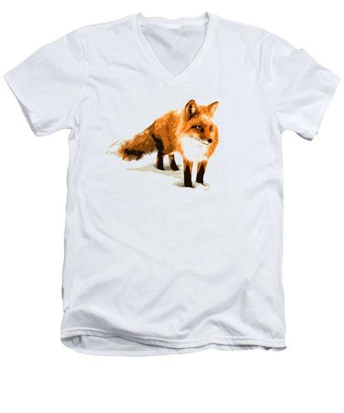 Red Fox In Winter Men's V-Neck T-Shirt