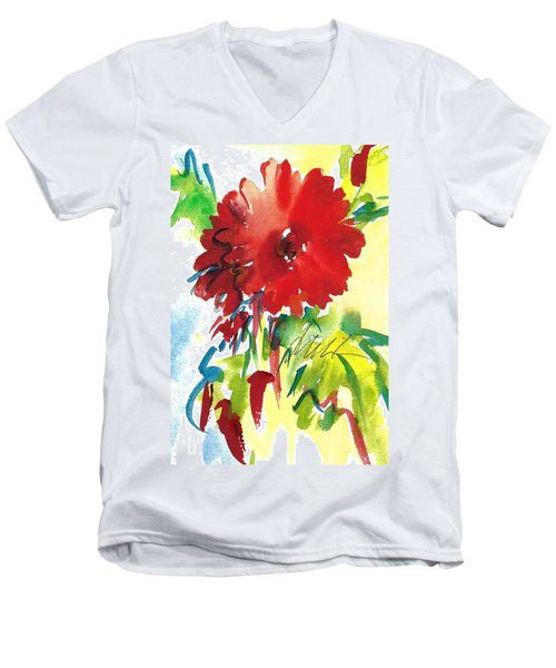 Red Gerberas Men's V-Neck T-Shirt