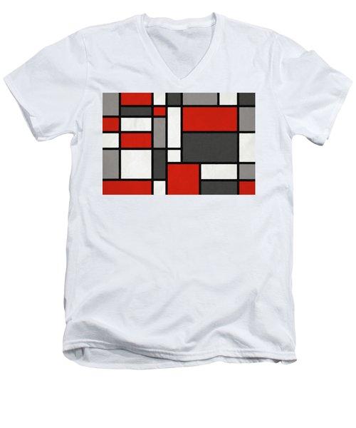 Red Grey Black Mondrian Inspired Men's V-Neck T-Shirt