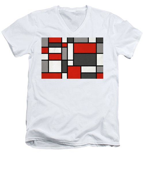 Red Grey Black Mondrian Inspired Men's V-Neck T-Shirt