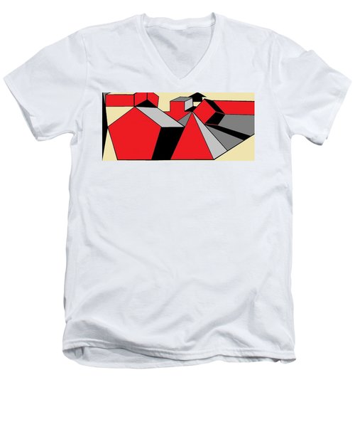 Red, Grey, Cream 2 Men's V-Neck T-Shirt