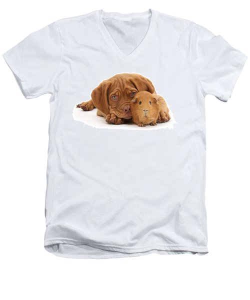 Red Guinea Pig And Dogue De Bordeaux Men's V-Neck T-Shirt