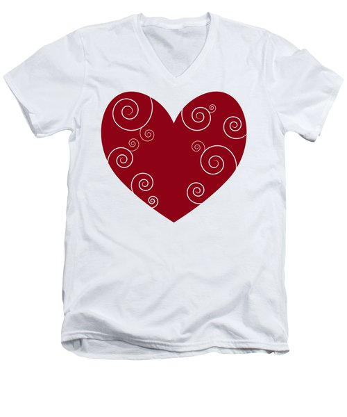 Red Heart Men's V-Neck T-Shirt by Frank Tschakert