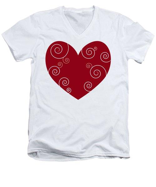 Red Heart Men's V-Neck T-Shirt