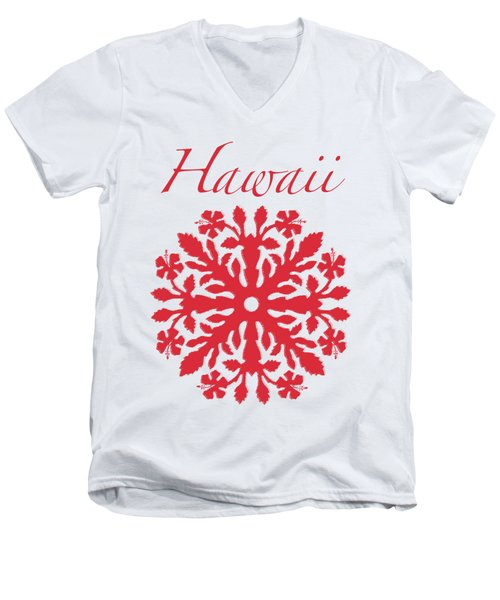 Hawaii Red Hibiscus Quilt Men's V-Neck T-Shirt by James Temple