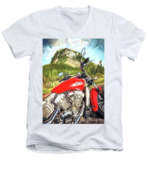 Red Indian Summer Men's V-Neck T-Shirt