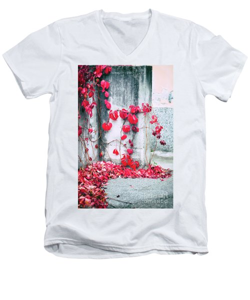 Men's V-Neck T-Shirt featuring the photograph Red Ivy Leaves by Silvia Ganora
