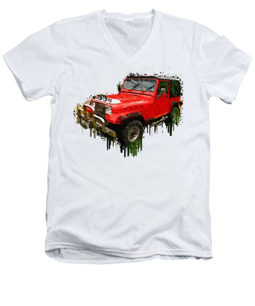 Red Jeep Off Road Acrylic Painting Men's V-Neck T-Shirt by Georgeta Blanaru