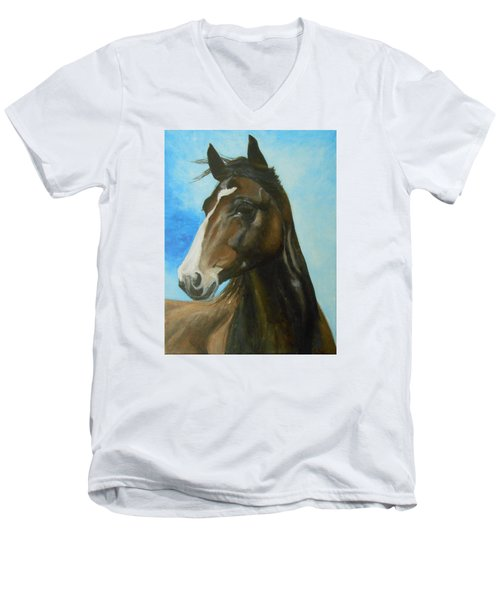 Men's V-Neck T-Shirt featuring the painting Red Moon by Jane See