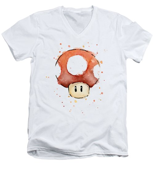 Red Mushroom Watercolor Men's V-Neck T-Shirt