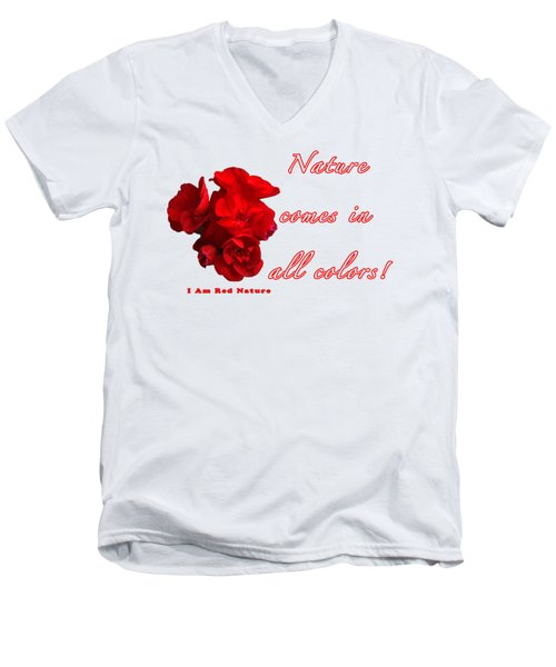 Red Nature Men's V-Neck T-Shirt by Terry Wallace