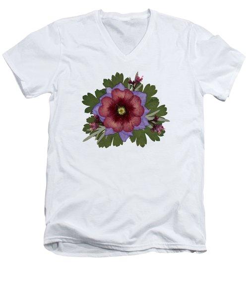 Red Open Faced Potentilla Pressed Flower Arrangement Men's V-Neck T-Shirt
